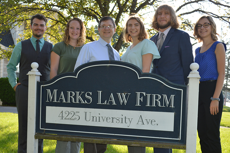 Marks Law Firm Staff and Sign